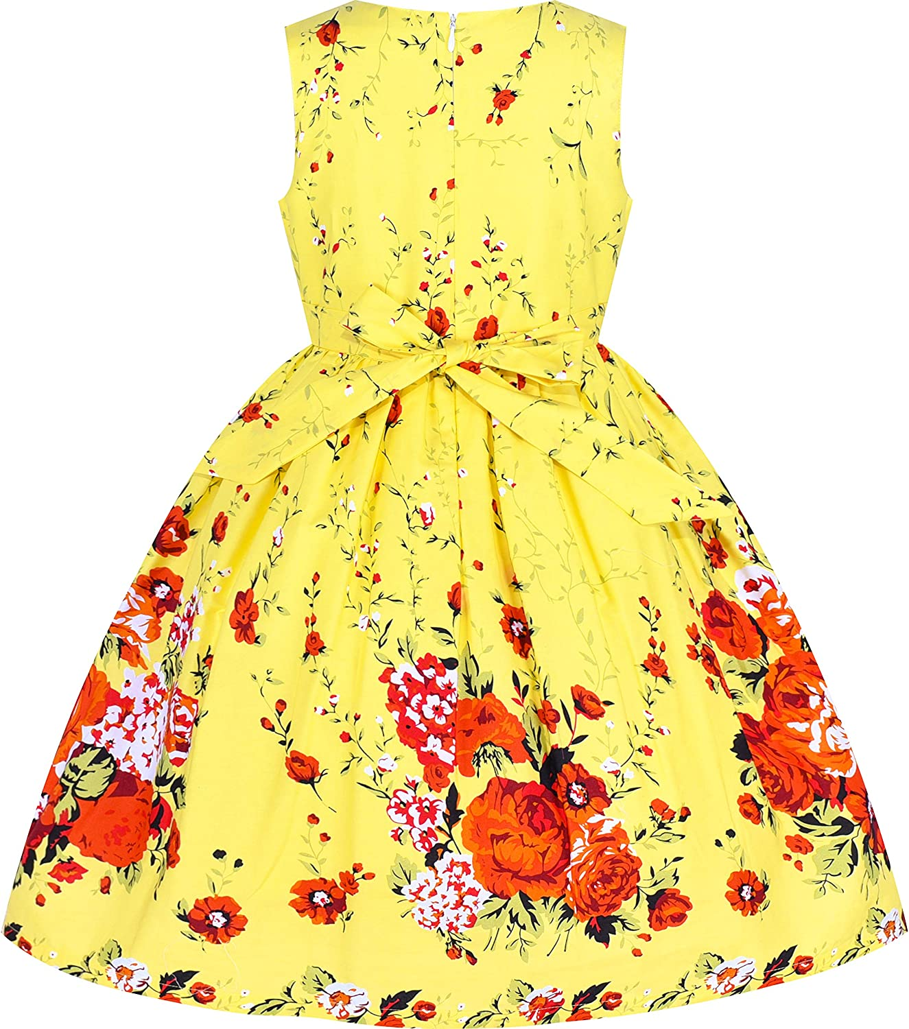 Sunny Fashion Girls Dress Purple Rose Flower Double Bow Tie Party