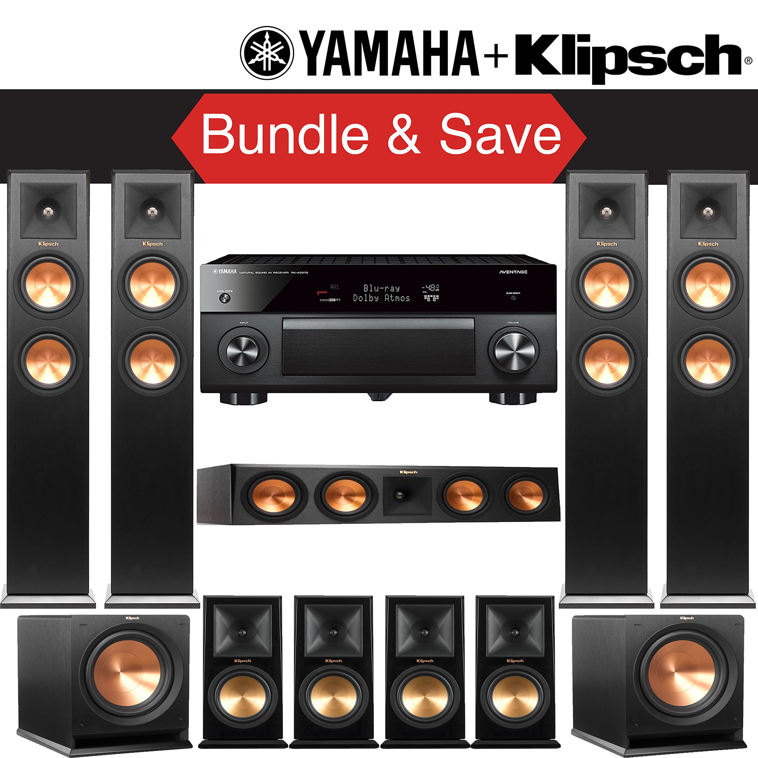 Klipsch RP-280F 9.2-Ch Reference Premiere Home Theater System with Yamaha AVENTAGE RX-A2070BL 9.2-Channel Network A/V Receiver