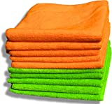 "10 Pack Premium Quality Orange & Green Microfibre Cloths - Large 40x40cm (16""x16"") - Lint Free Cleaning Cloth - House & Car - Plush Ultra Soft - Absorbs 5x its Weight - 100% Refund"
