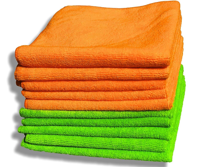 """10 Packs de chiffons en microfibre Orange et Vert de Qualité Premium - Grande taille 40 x 40 cm (16""""x16"""") - Chiffon de nettoyage sans charpie pour la maison et la voiture - Peluche Ultra douce - Absor"""
