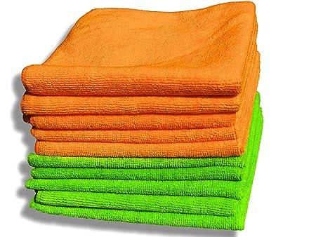 10 Pack Premium Quality Orange & Green Microfibre Cloths - Large ...