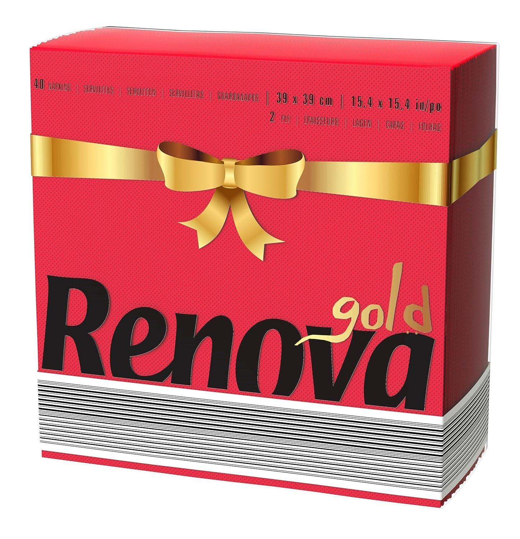 Renova Servilletas de papel Gold Roja - 40 servilletas