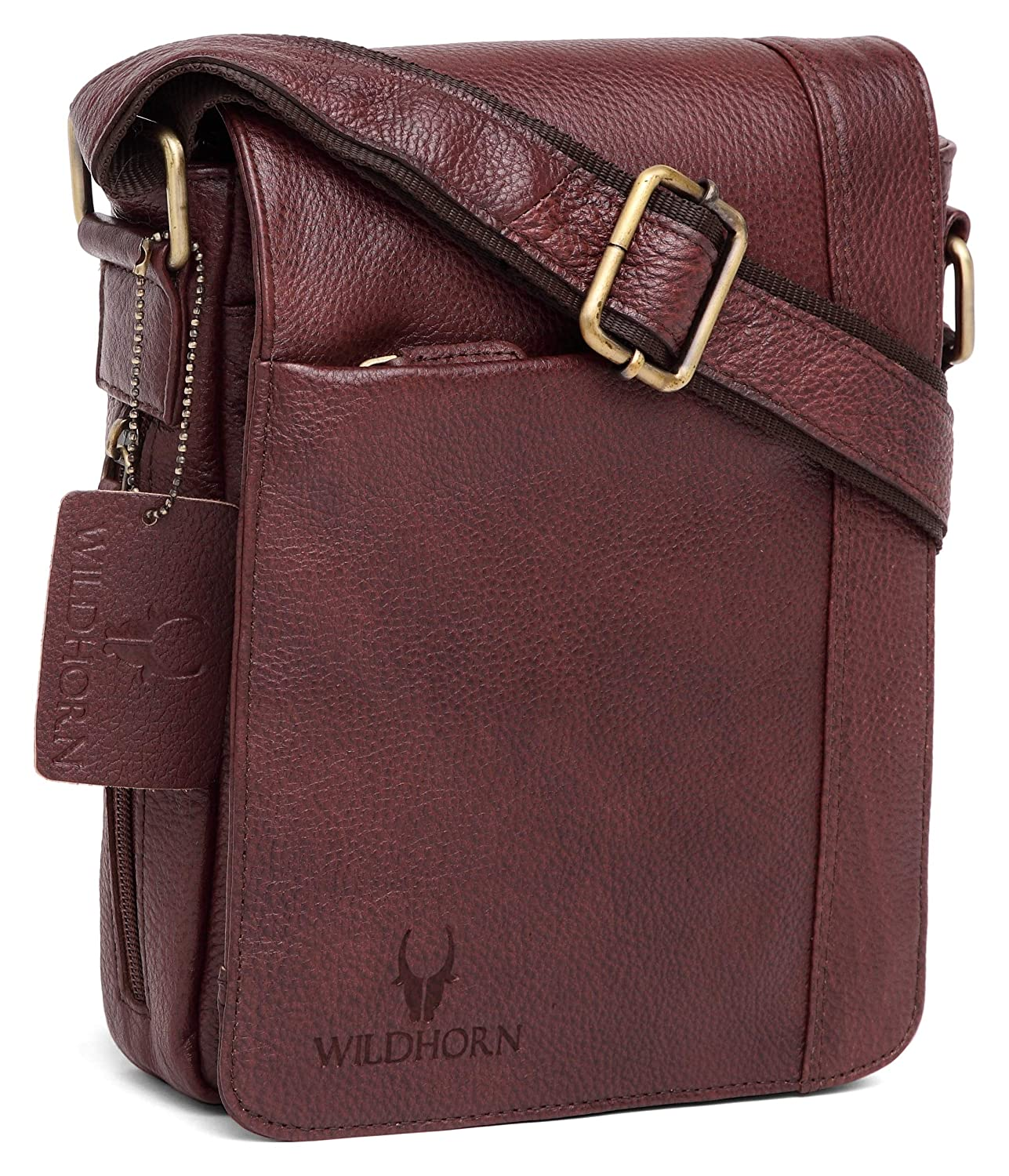 WILDHORN Leather 8.5 Inches Brown Messenger Bag (MB563)