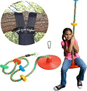 Jungle Gym Kingdom Tree Swing Climbing Rope Multicolor with Platforms Red Disc Swings Seat - Outdoor Playground Set Accessories Tree House Flying Saucer Outside Toys - Bonus Carabiner and 4 Feet Strap