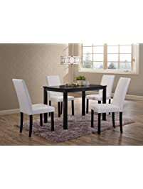 Kitchen Table With Chairs Table chair sets amazon kings brand wood dining dinette kitchen table 4 upholstered parson chairs white workwithnaturefo