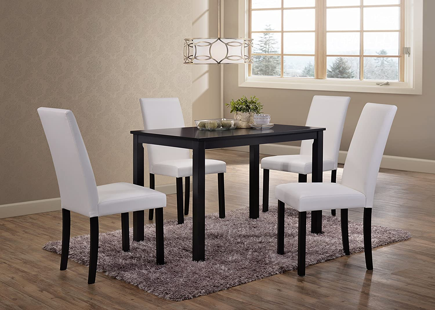 Amazon com kings brand wood dining dinette kitchen table 4 upholstered parson chairs white table chair sets