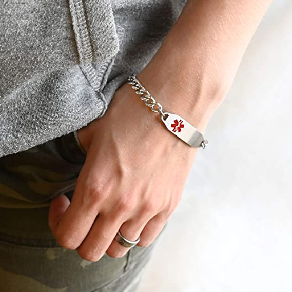 Pre-Engraved /& Customized Diabetes Type 2 Medical Bracelet My Identity Doctor Pink Symbol Steel Raindrop