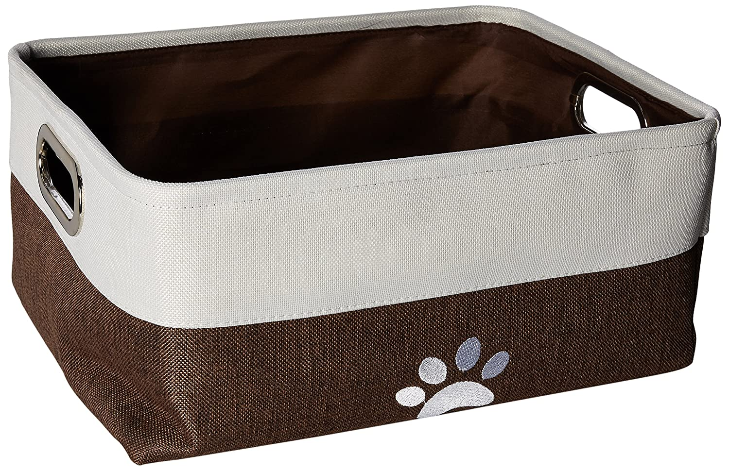 "Winifred & Lily Pet Toy and Accessory Storage Bin, Organizer Storage Basket for Pet Toys, Blankets, Leashes and Food in Embroidered ""Paws"", Beige/Brown PS108"