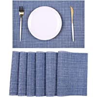 6PCS Heat-Resistant Placemats for Kitchen Dining Wipeable Table Mats Set of 6 Woven Vinyl PVC Place Mats Washable…