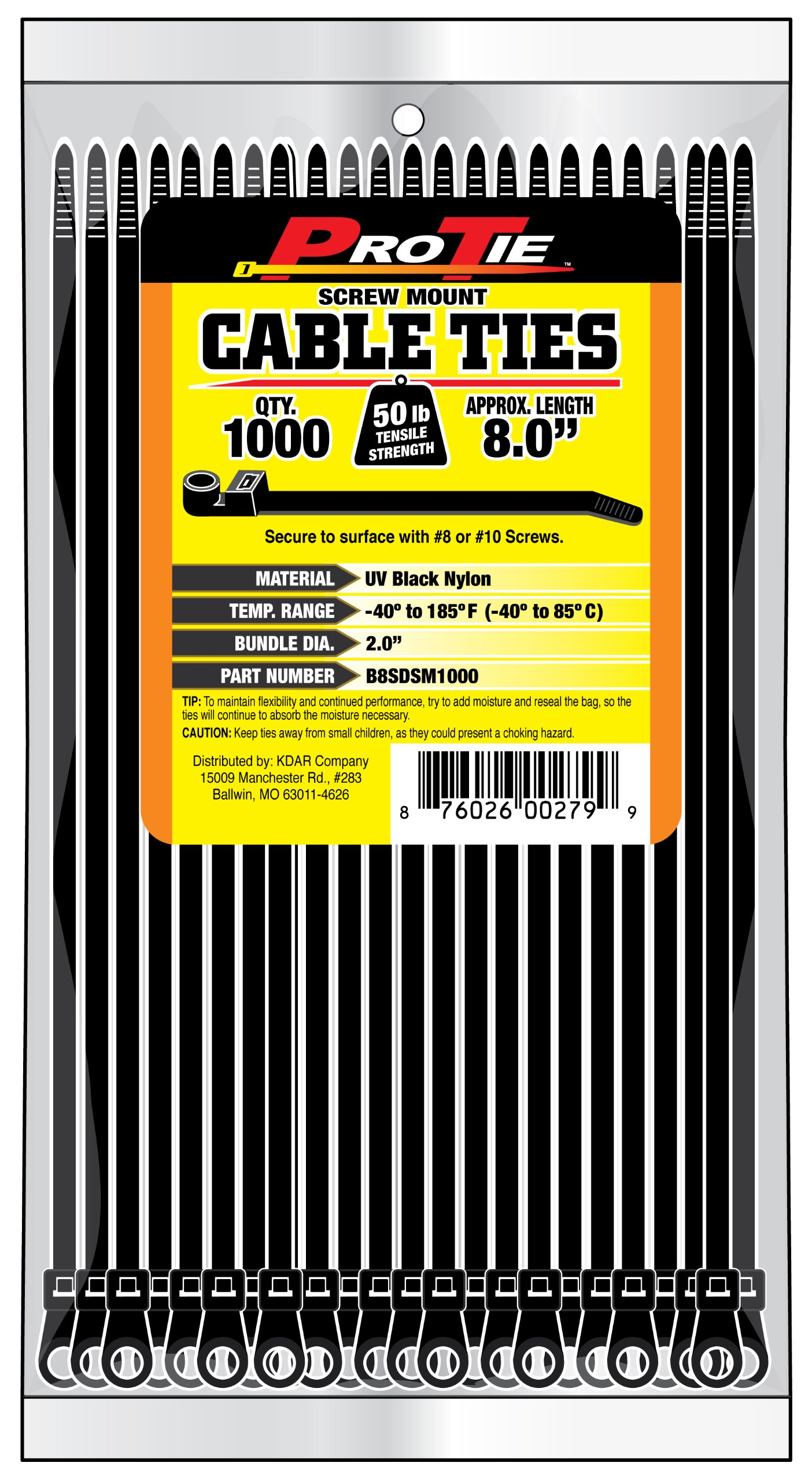 Pro Tie B8SDSM1000 8-Inch Screw Mount Standard Duty Cable Tie, UV Black Nylon, 1000-Pack