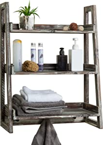 MyGift 3-Tier Torched Wood Wall-Mounted Cascading Ladder Shelves with 3 Peg Hooks