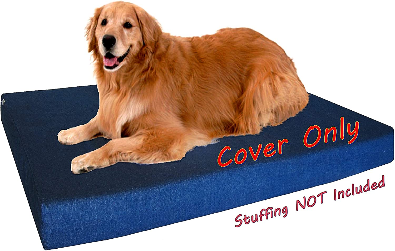 Dogbed4less 40X35X4 Inches Blue Color Durable Denim Jean Dog Pet Bed External Zipper Cover - Replacement Cover only : Pet Supplies