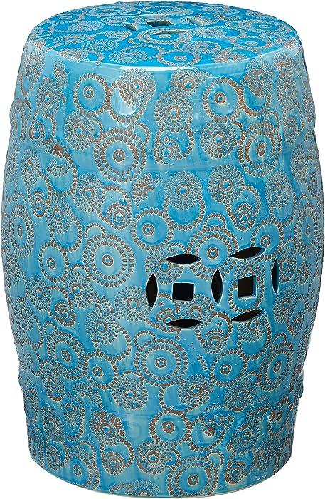 "Oriental Furniture 18"" Spherical Design Porcelain Garden Stool"