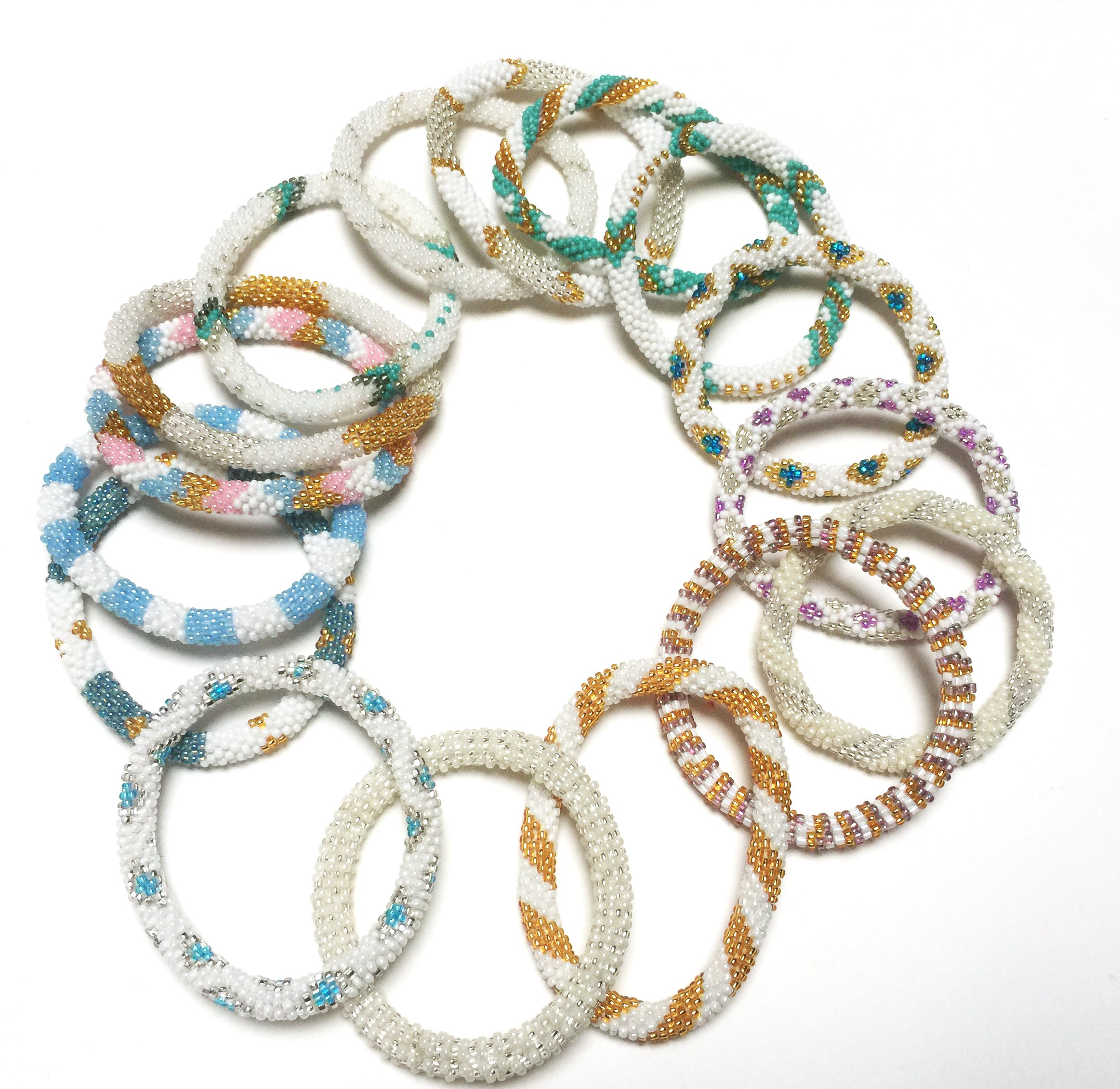 WigsPedia Handmade Crochet Glass Seed Bead Nepal Roll on Boho Bracelet - Wholesale White Scheme (12 Pieces White Bracelets)