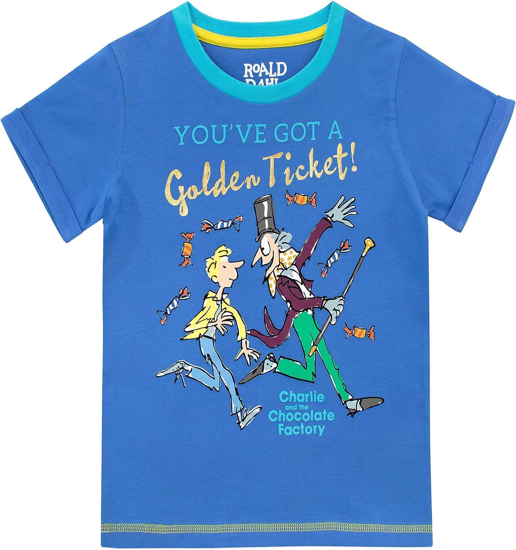 Roald Dahl Maglietta Maniche Corta per Ragazzi La Fabbrica di Cioccolato