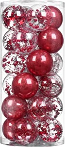 "XmasExp Red Christmas Ball Ornaments Shatterproof, Plastic Ball Decoration Set Baubles Stuffed Delicate Glittering Ornaments for Holiday Wedding Party Decoration (24ct 70mm/2.76"")"