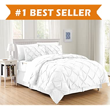 Luxury Best, Softest, Coziest 8-Piece Bed-in-a-Bag Comforter Set on Amazon! Elegant Comfort - Silky Soft Complete Set Includes Bed Sheet Set with Double Sided Storage Pockets, Full/Queen, White