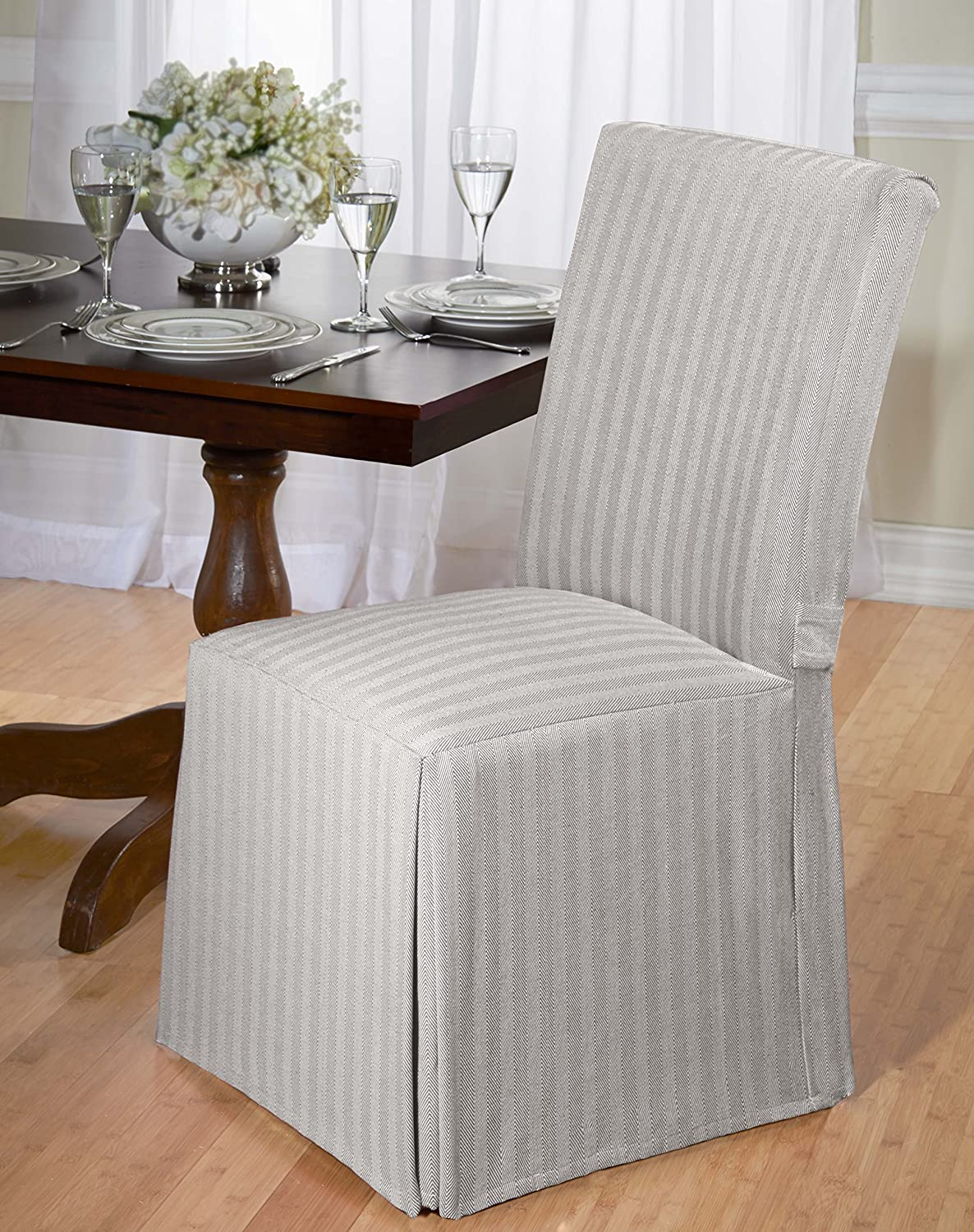 Amazon Luxurious Dining Chair Cover Herringbone Beige Grey And Red Home Kitchen