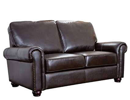 Amazon.com: Abbyson Wilshire Italian Leather Loveseat, Brown: Home ...