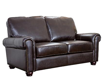 Abbyson Wilshire Italian Leather Loveseat, Brown