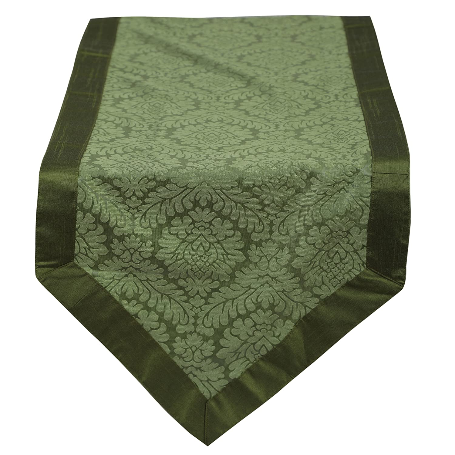 The White Petals Green Table Runner 14x48 inch Handmade /& Unique