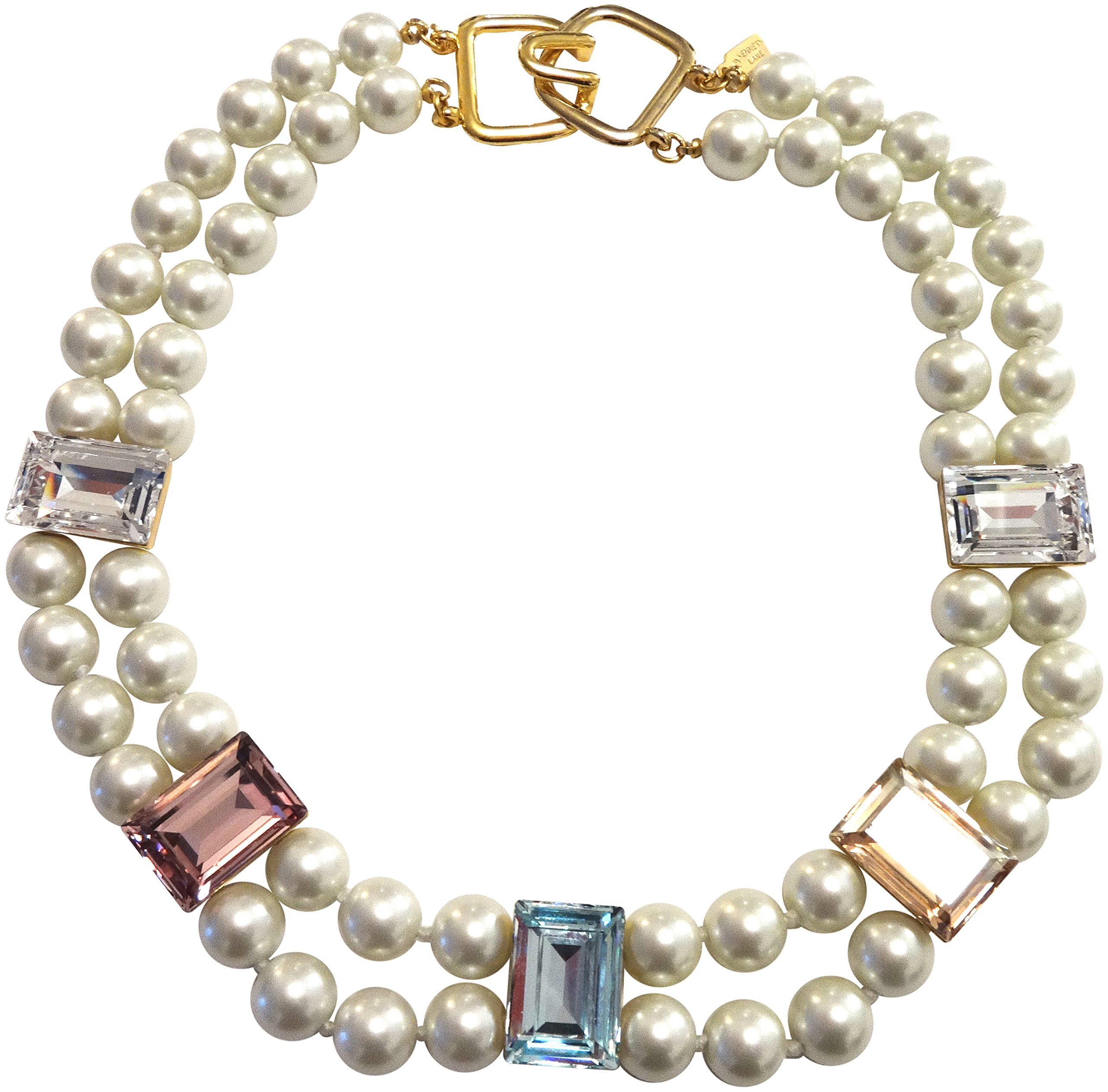 HamptonGems KENNETH JAY LANE - 2 ROW PEARL NECKLACE WITH PASTEL CRYSTAL ACCENTS