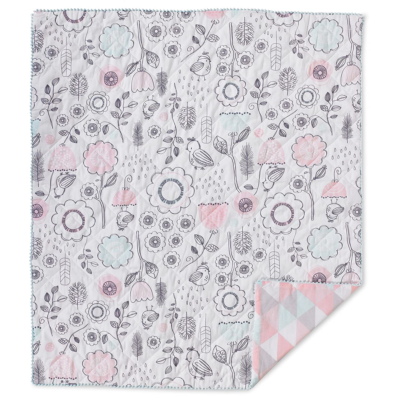 Lolli Living Baby Quilted Comforter in Sparrow. Modern Quilted Baby Blanket (Sparrow Print).