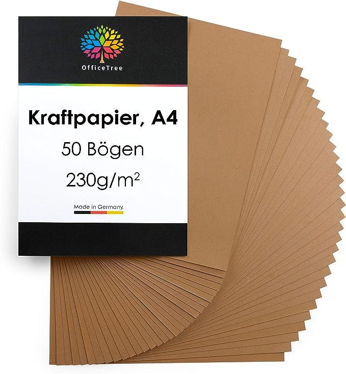 OfficeTree 50 hojas de papel marrón sin recubrir A4-230g/m² niños cartulina para para hacer manualidades, diseñar: Amazon.es: Oficina y papelería