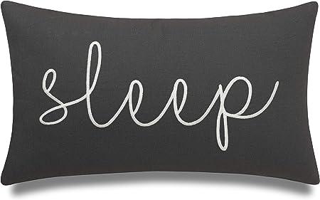 Eurasia Decor Sleep Sentiment 12x20 Embroidered Decorative Lumbar Accent Throw Pillow Cover Dark Grey Home Kitchen Amazon Com