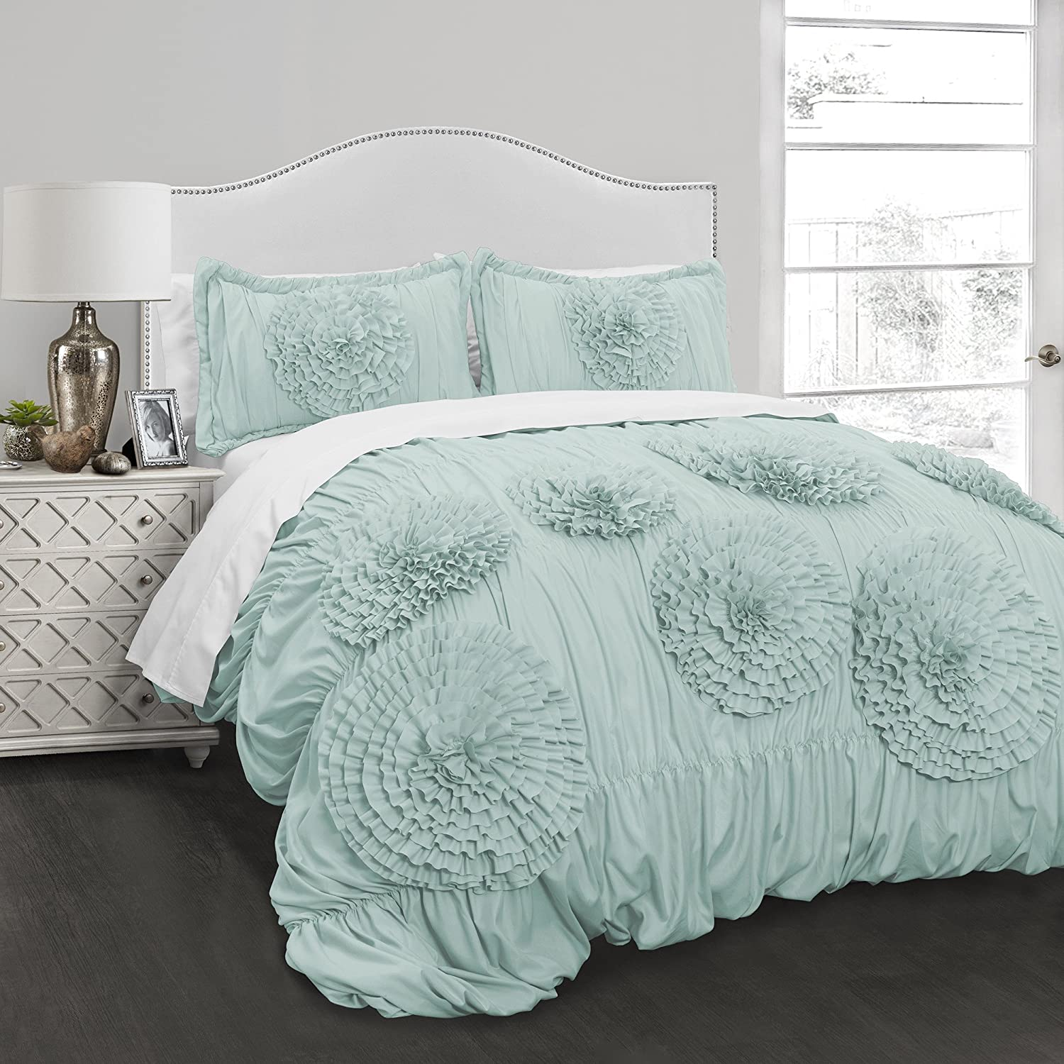 Ln 3 Piece Kids Aqua Blue Luxury Ruffle Floral Pattern Comforter Full Queen Set, Handcrafted Ruffled Light Blue Flowers Bedding Ruched Texture Design, Boho Chic Hippie Indie Bohemian Style, Polyester