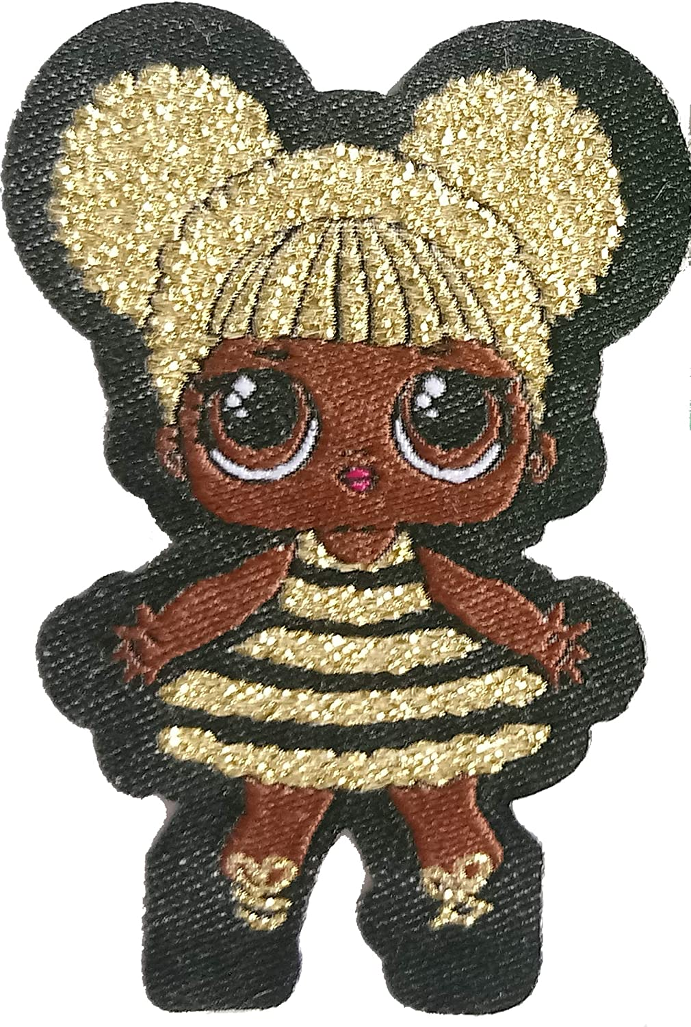 LOL Doll Queen Bee Patch. Woven, Iron-On, with Golden Lurex Thread. Size 2.1