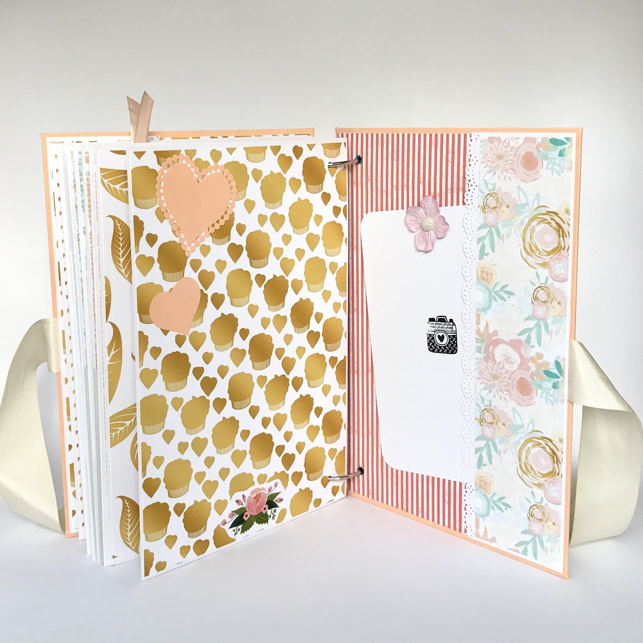 Kristabella Creations Mint and peach Baby girl memory book, size A4 8x11 inches, Metal ring binding, 20 decorated inside pages, Interactive, Month cards, Milestone card, Beautiful baby shower gift