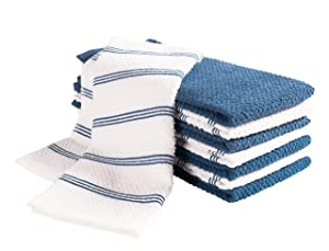 KAF Home Pantry Piedmont Terry Kitchen Towels   Set of 8, 16 x 26 inch, Absorbent Terry Cloth Dish Towels, Hand Towels, Tea Towels   Perfect for Kitchen Spills, Cooking, and Messes - Paris Blue