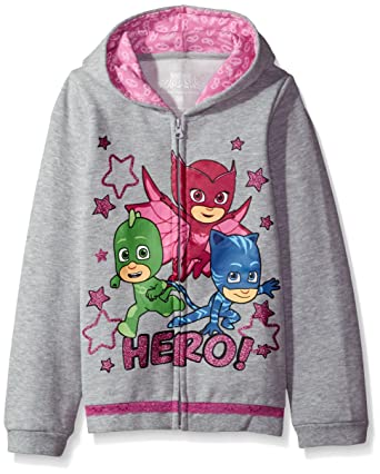 PJ MASKS Girls Toddler Icon Print Zip Up Hoodie, Heather Grey, ...