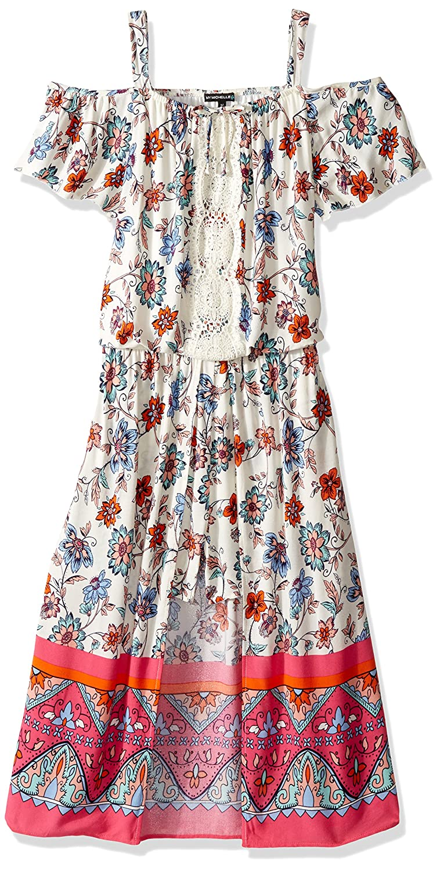 55c3e607b10 Amazon.com  My Michelle Girls  Big Cold Shoulder Romper Maxi Dress with  Crochet  Clothing