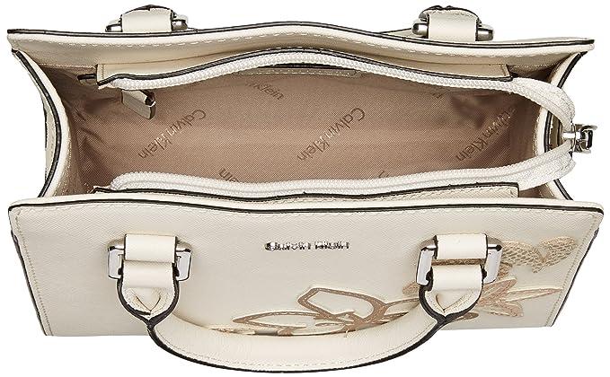 c3b14bef3 Calvin Klein womens Calvin Klein Logan Saffiano Leather Floral Applique  Crossbody, white combo, One Size: Handbags: Amazon.com