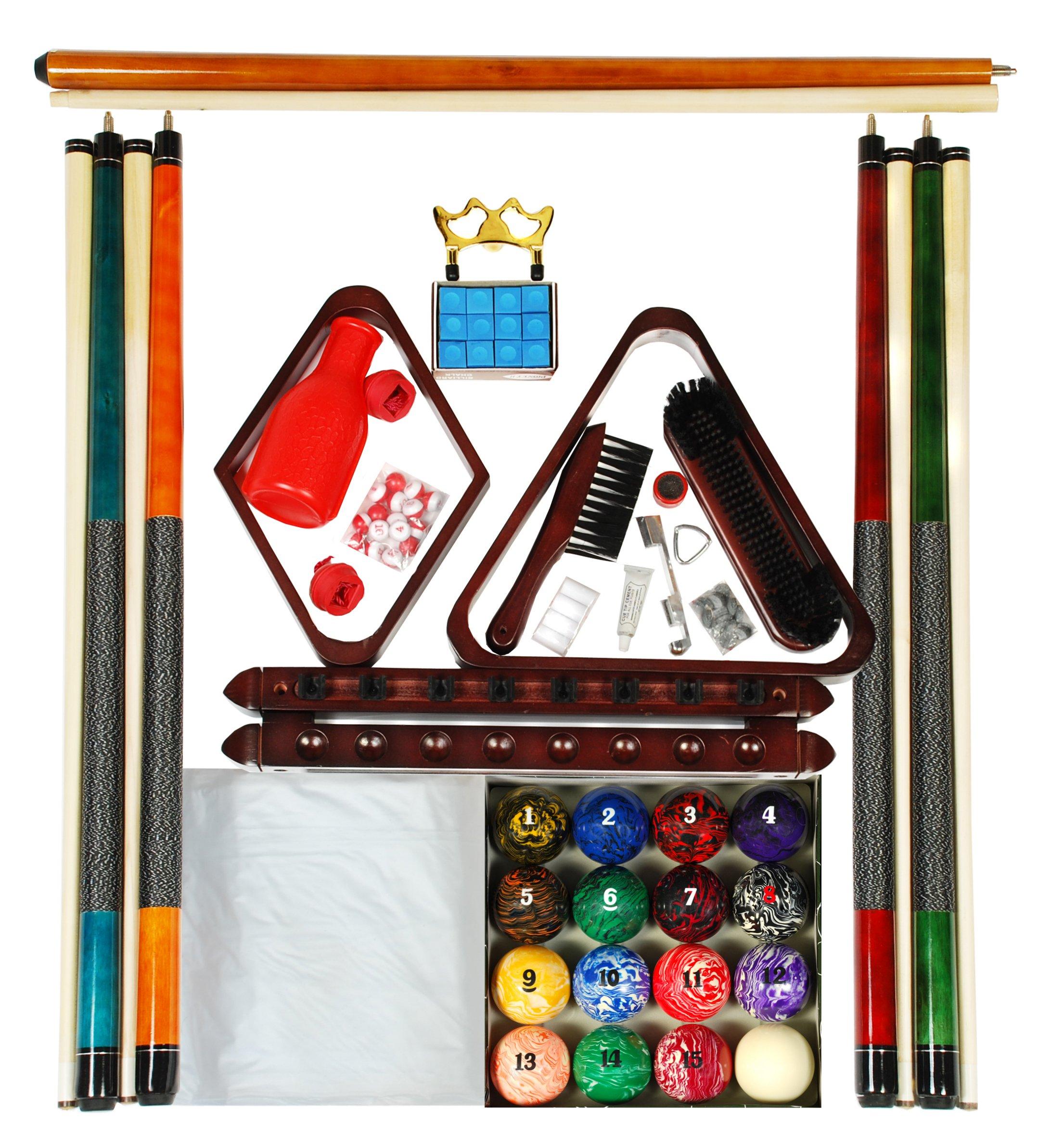 Mahogany Finish Billiard Pool Table Accessory Kit Art # Marble Ball Set