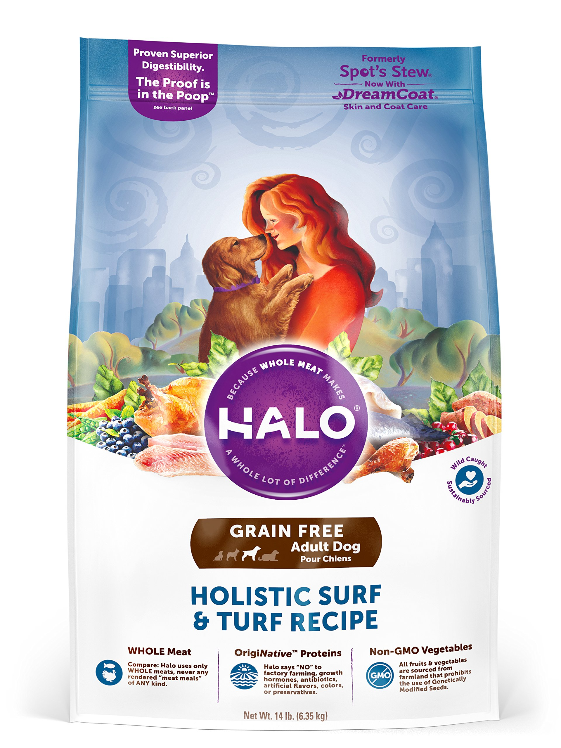 Halo Grain Free Natural Dry Dog Food, Surf & Turf Recipe, 14-Pound Bag