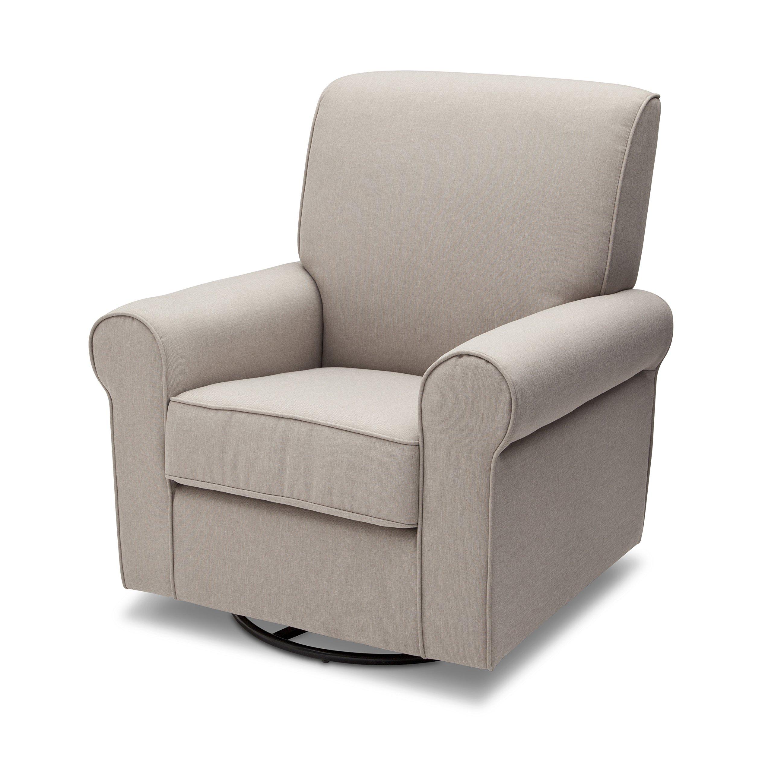 Delta Furniture Avery Upholstered Glider Swivel Rocker Chair, Taupe
