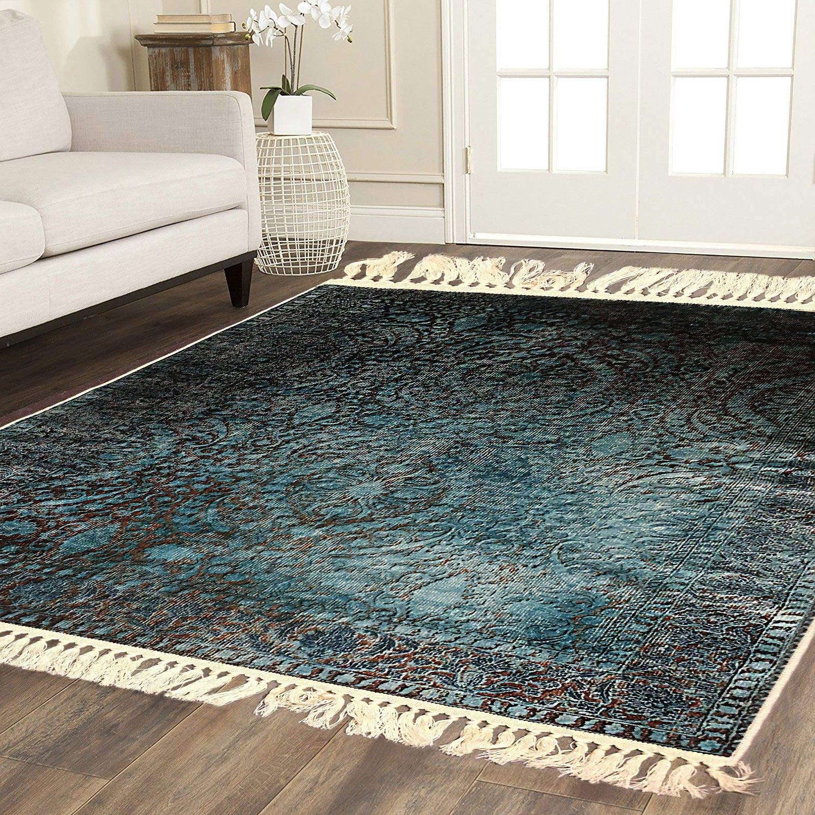 Home Must Haves Blue Brown Faux Silky Luxury Persian Oriental Flat Weave High Density Hand-Knotted Large Area Rug Carpet For Any Living Room Bedroom Kitchen Room Home (5'3'' x 7'6'')
