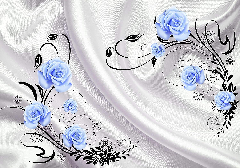 Wandmotiv24 Fototapete Fototapete Fototapete türkis Rosan Ornamenten Stofftuch Blaumen Kreise Tuch Seide M4095 XL 350 x 245 cm - 7 Teile Wandbild - Motivtapete B07NKV2G1X Wandtattoos & Wandbilder 7f1299