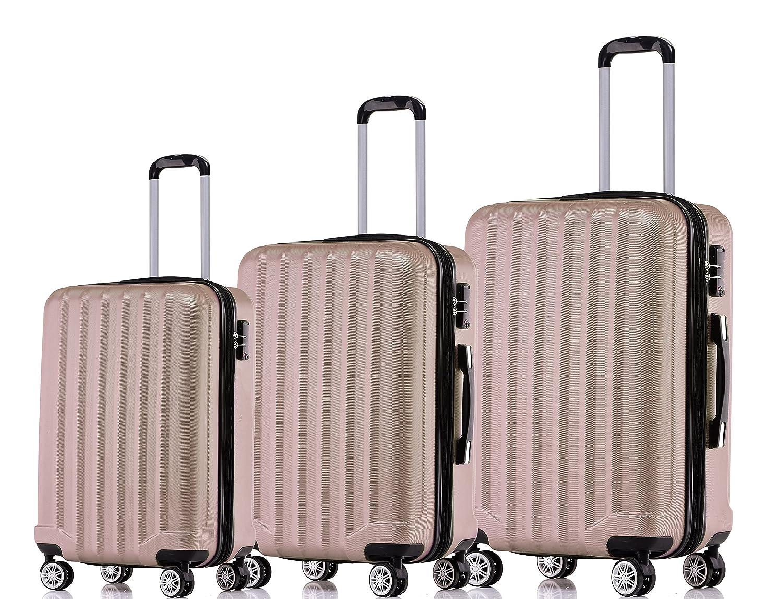 BEIBYE TSA-Schloß 2080 Zwillingsrollen 3 tlg. Reisekofferset Koffer Kofferset Trolley Trolleys Hartschale (Champagner, Set)