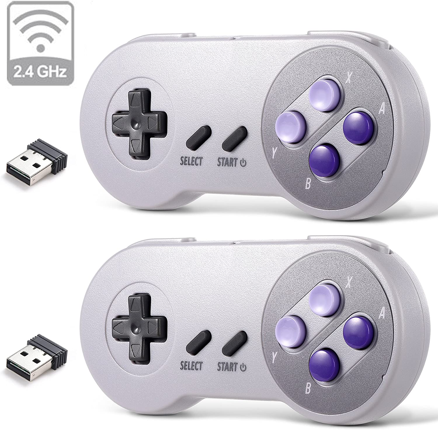 2 Pack 2.4 GHz Wireless USB Controller Compatible with Super Famicom Games, iNNEXT SNES Retro USB PC Super Classic Controller for Windows PC MAC Linux Genesis Raspberry Pi Retropie (Purple/Gray)