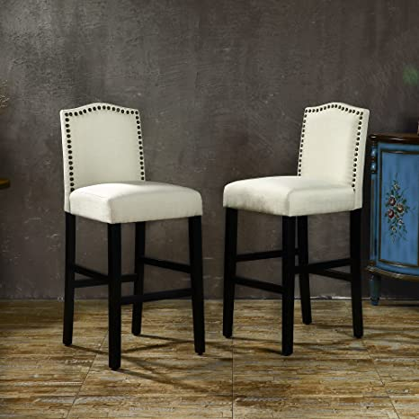 Terrific Lssbought Set Of 2 Classic Fabric Barstools Dining High Counter Height Side Chairs Seat Height 30 Inches Beige Beatyapartments Chair Design Images Beatyapartmentscom