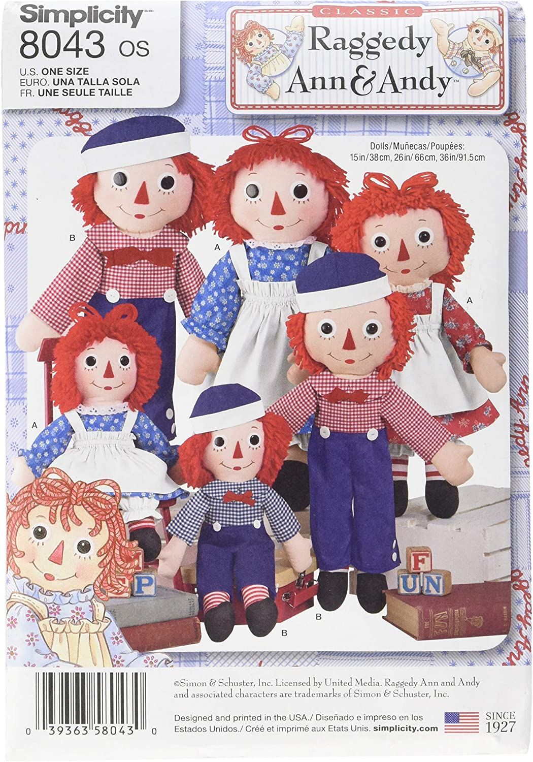 Simplicity Patterns Raggedy Ann & Andy Dolls Size: Os (One Size), 8043