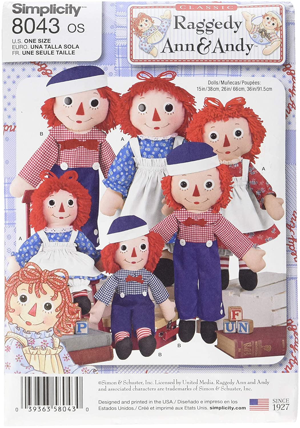 Simplicity Patterns Raggedy Ann & Andy Dolls Size: Os (One Size), 8043 OUTLOOK GROUP CORP US8043OS