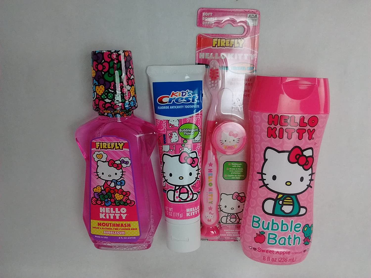 Amazon.com: Hello Kitty Travel Kit Toothbrush with Cap Kids Crest Bubblegum Flavor Toothpaste Mouthwash Bubblegum Flavor Plus Bubble Bath Sweet Apple ...