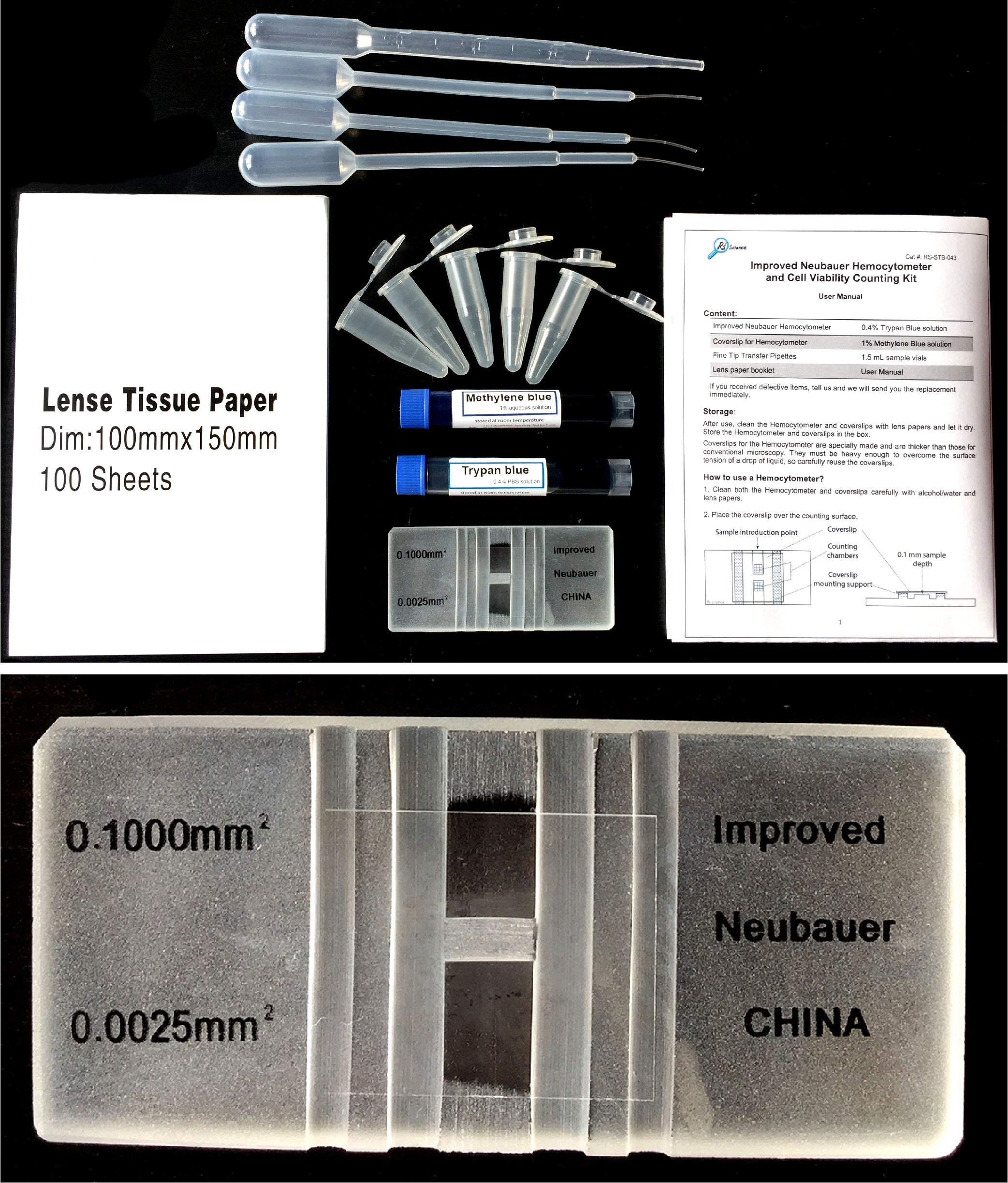 Rs' Science - Improved Neubauer Hemocytometer kit with Trypan blue and Methylene blue for blood, cell, yeast counting