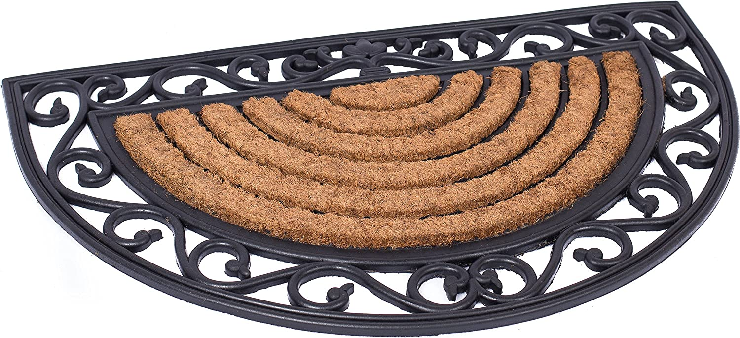 BIRDROCK HOME 18 x 30 Half Round Natural Coir and Rubber Doormat with Scroll Border - Natural Fibers - Outdoor Doormat - Keeps Your Floors Clean - Decorative Design - Brush Coir