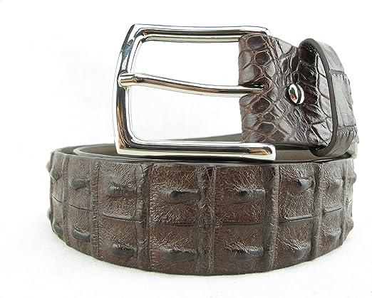 PELGIO Genuine Crocodile Alligator Backbone Skin Leather Mens Belt 46 Long